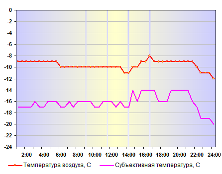 Субъективная температура в Н.Новгороде 29 декабря 2013 года