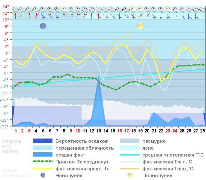 График температуры февраль 2019