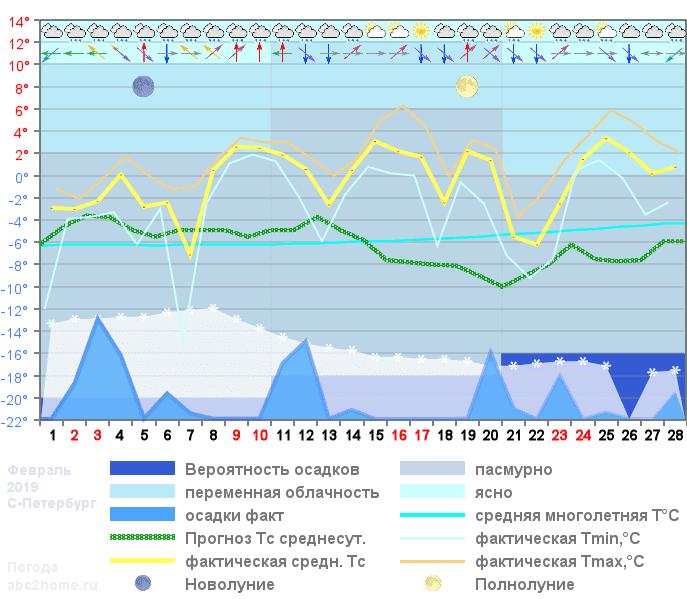 График температуры февраль 2019 Spb