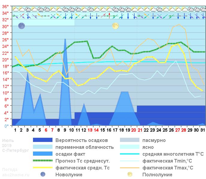 График температуры июль 2019, spb