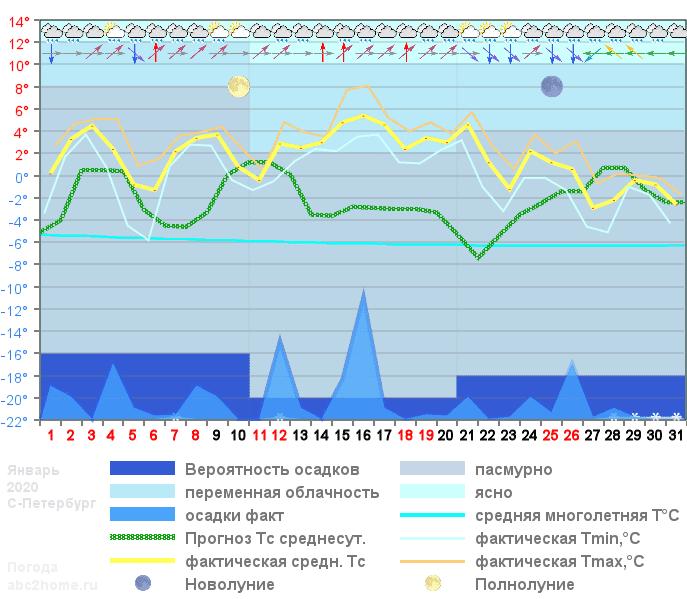 График температуры январь 2020 Spb