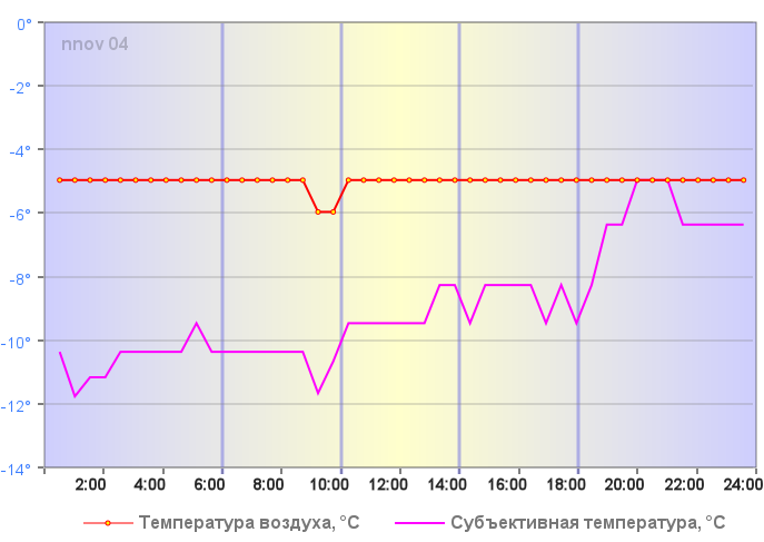 Субъективная температура в Н.Новгороде 29 декабря 2019 года