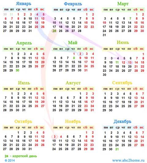 Календарь на 2014 год.  Схема переноса праздников.  Рисунок: Sergey Ov.