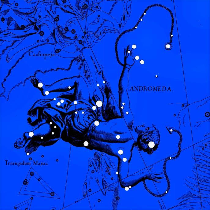 Созвездие Андромеда. Коллаж по атласу Яна Гевелия
