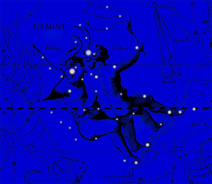 Созвездие Близнецы. Коллаж по атласу Яна Гевелия