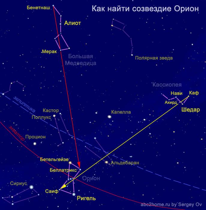 Как найти созвездие Орион