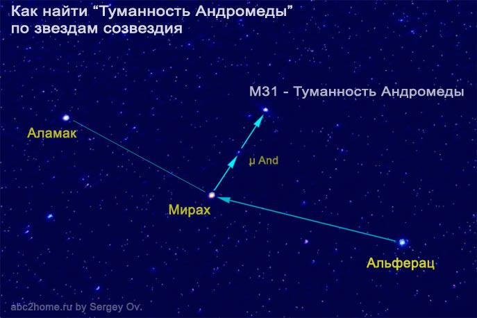 Как найти Туманность Андромеды по звездам