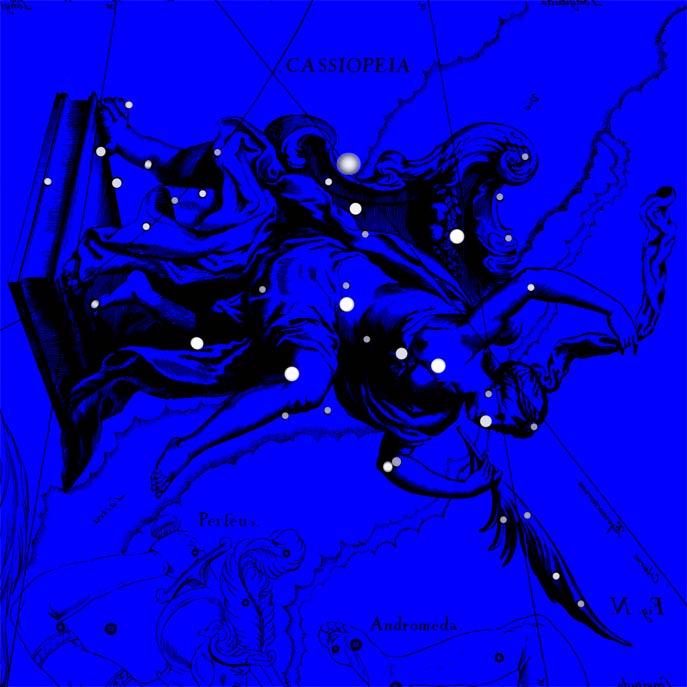 Созвездие Кассиопея. Коллаж по атласу Яна Гевелия
