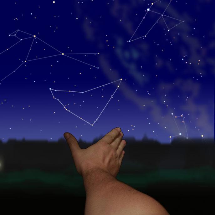 Созвездие Козерог вид на широте Москвы. Автор диаграммы Sergey Ov