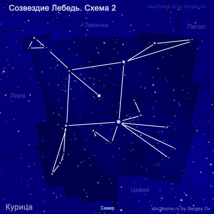 Схема созвездия Лебедь. Курица