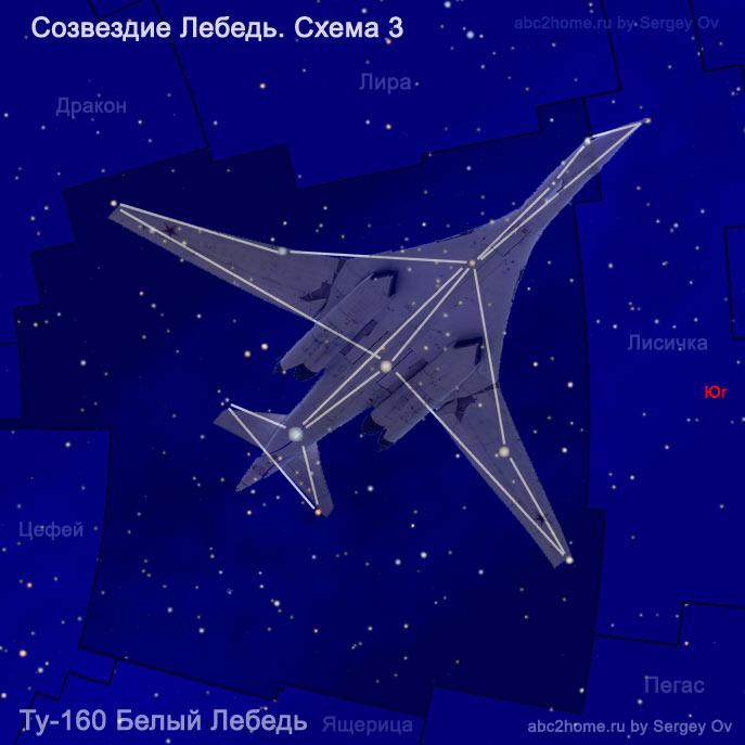 """Схема созвездия Лебедь и Ту-160 """"Белый Лебедь"""""""