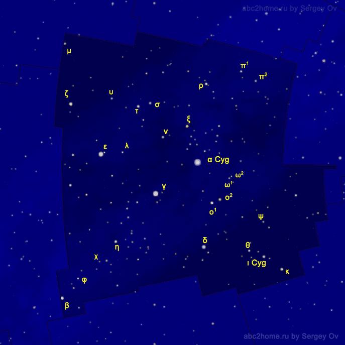 Обозначения звезд Лебедя
