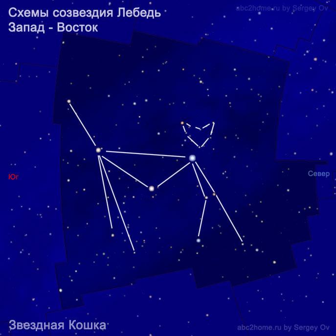 Схема созвездия Лебедь: Кошка
