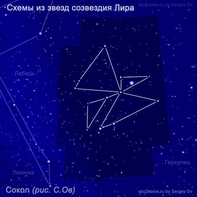 Сокол - cхема из звезд созвездия Лира