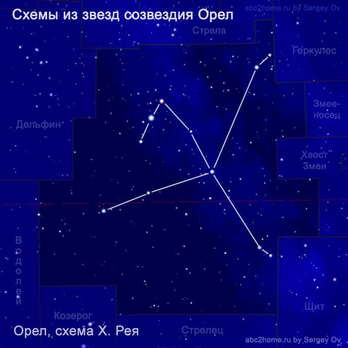 Схема созвездия Орел: схема Х. Рея, рис. 7.3.Aql