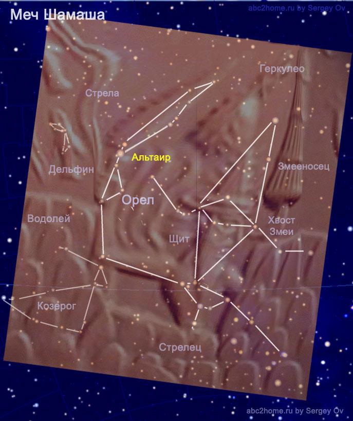 звезды и изображения Шамаша с Огненным Мечом