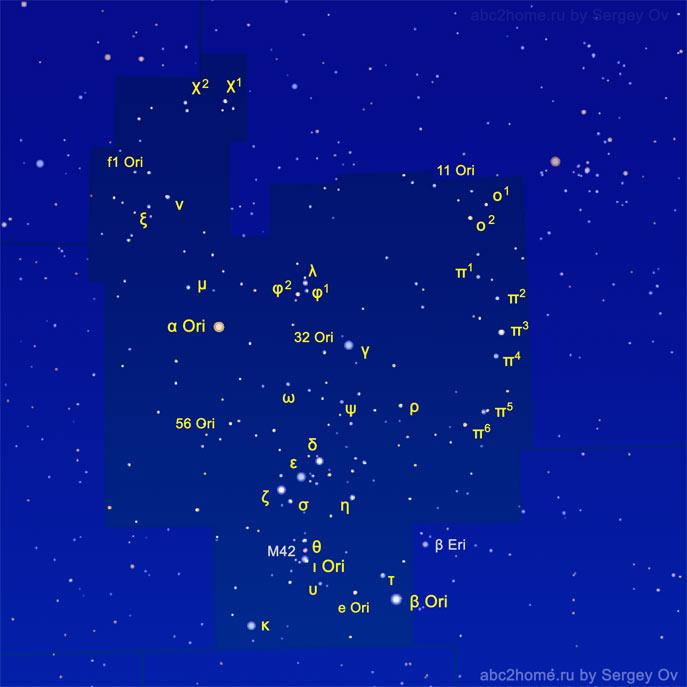 Обозначения звезд Орионa