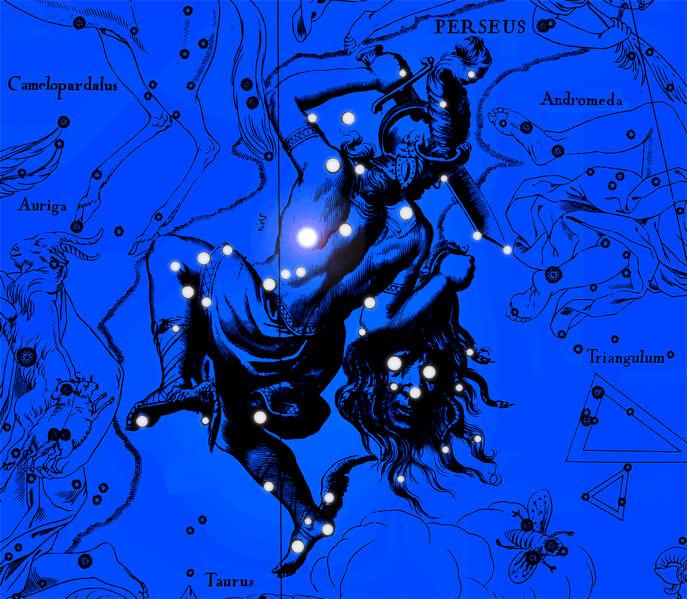 Созвездие Персей. Коллаж по атласу Яна Гевелия