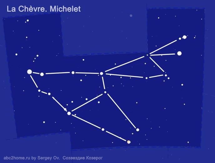 Созвездие Козерог. Астеризм 'Коза от Мишель' - cхема
