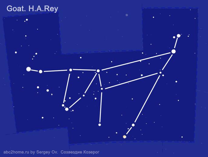 Созвездие Козерог. Астеризм 'Коза от Рея' - cхема