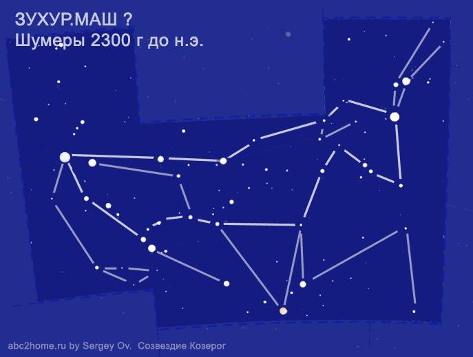 Созвездие Козерог. Астеризм 'ЗУХУР.МАШ, шумеры' - cхема