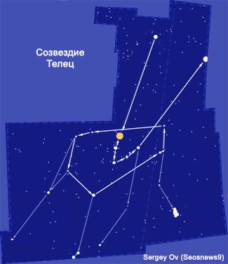 Созвездие Телец. Схема. Автор диаграммы Sergey Ov (Seosnews9), рис. 5.1.Tau