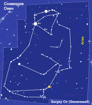 Aries constellation.  Scheme.  Chart by Sergey Ov (Seosnews9)