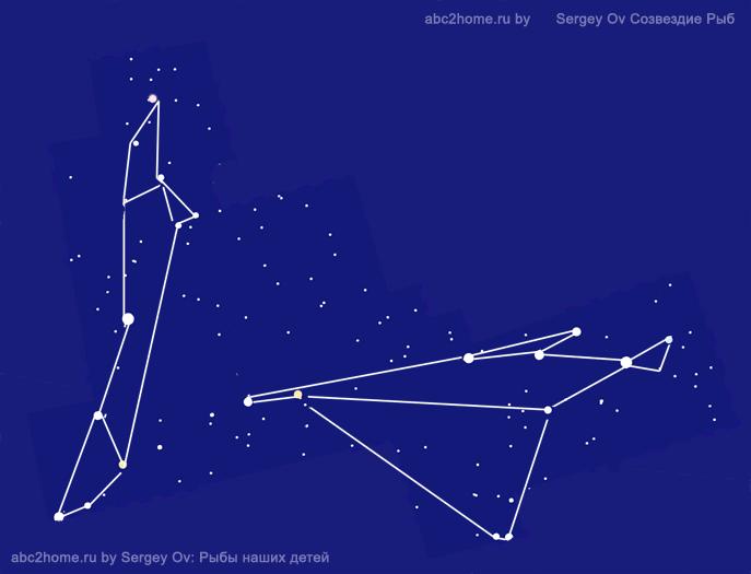 Созвездие Рыбы. Контурный рисунок 'Рыбины' - cхема. Автор диаграммы Sergey Ov