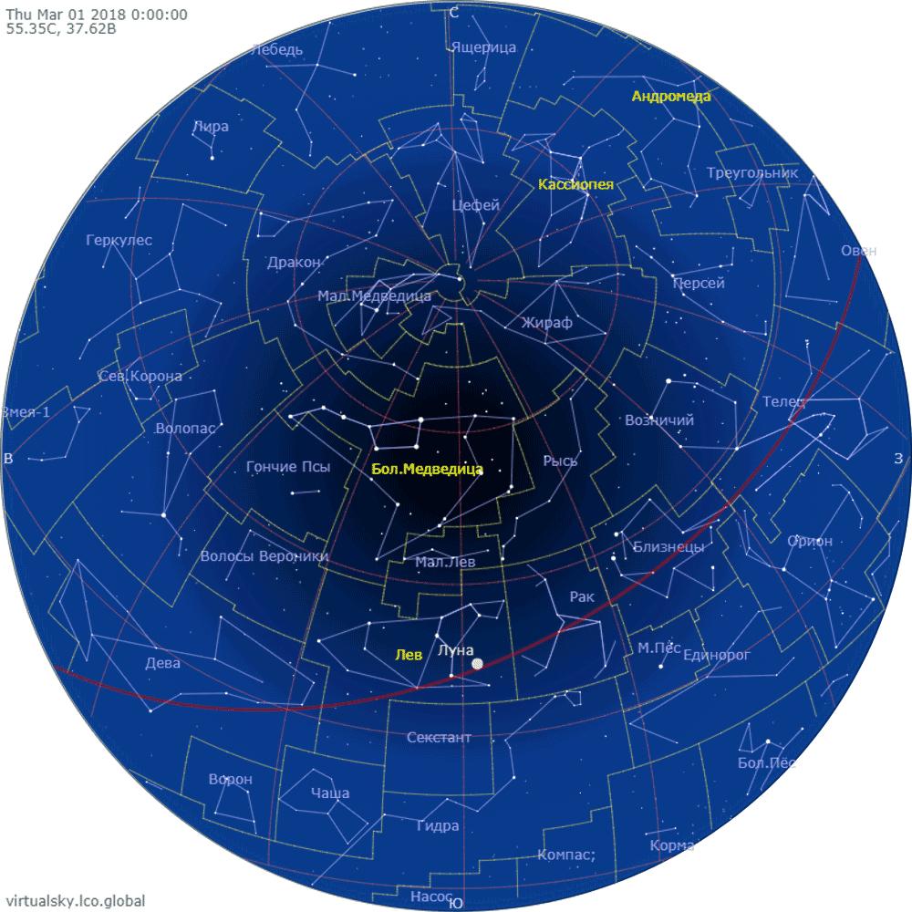 Звездное небо над Москвой, 1 марта 2018