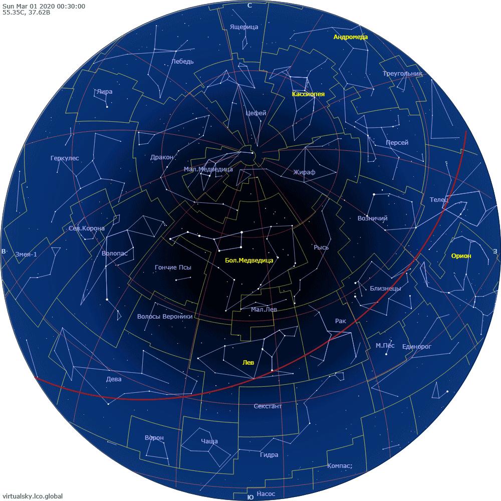 Звездное небо над Москвой, 1 марта 2020