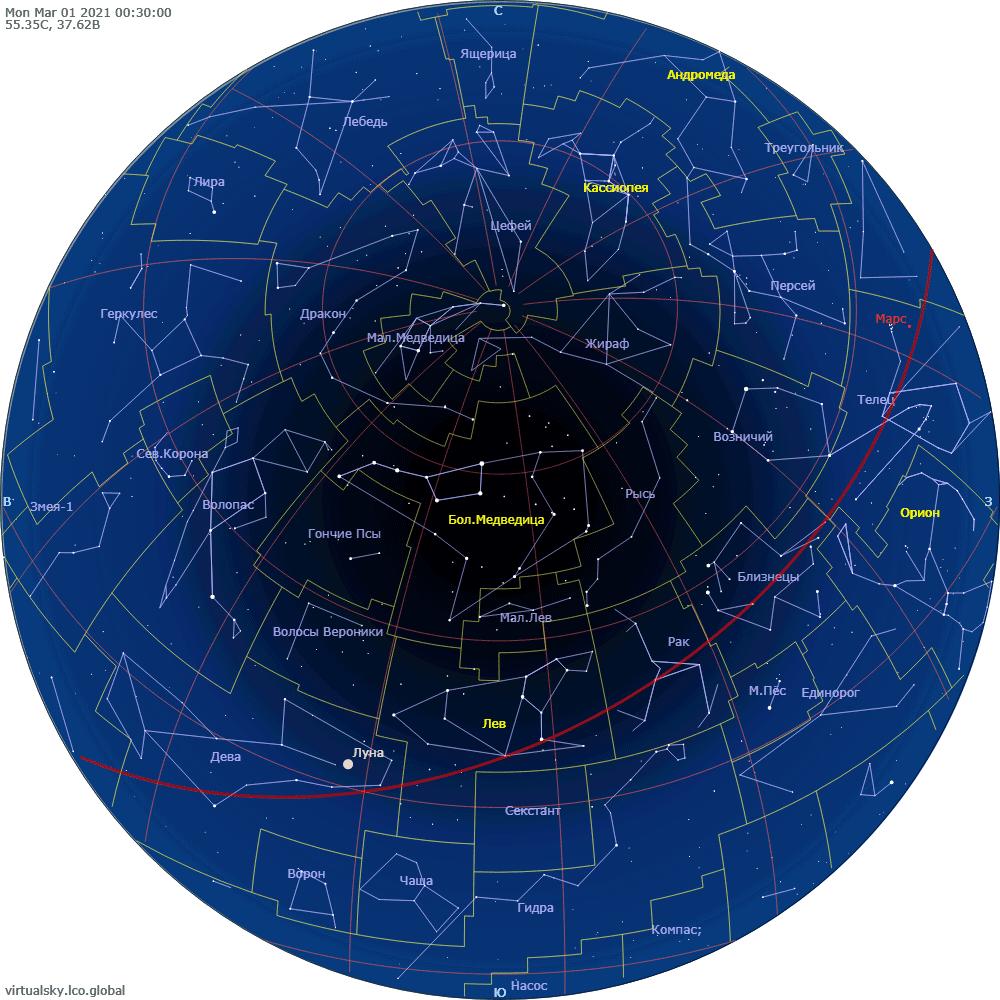 Звездное небо над Москвой, 1 марта 2021