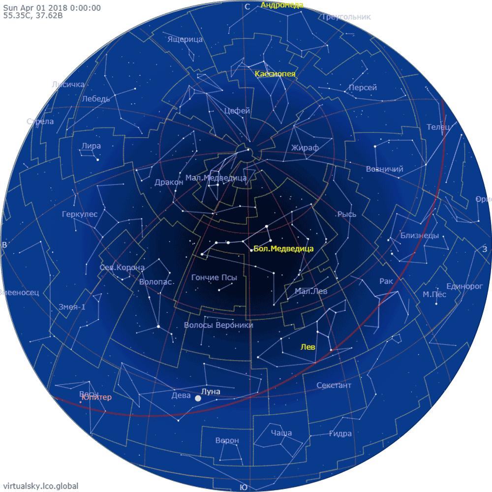 Звездное небо над Москвой, 1 апреля 2018