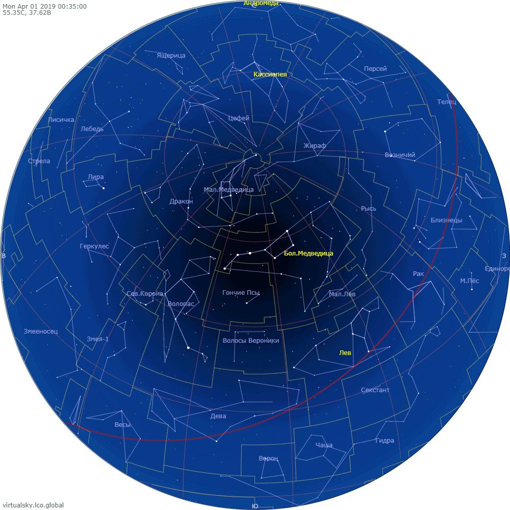 Звездное небо над Москвой, 1 апреля 2019