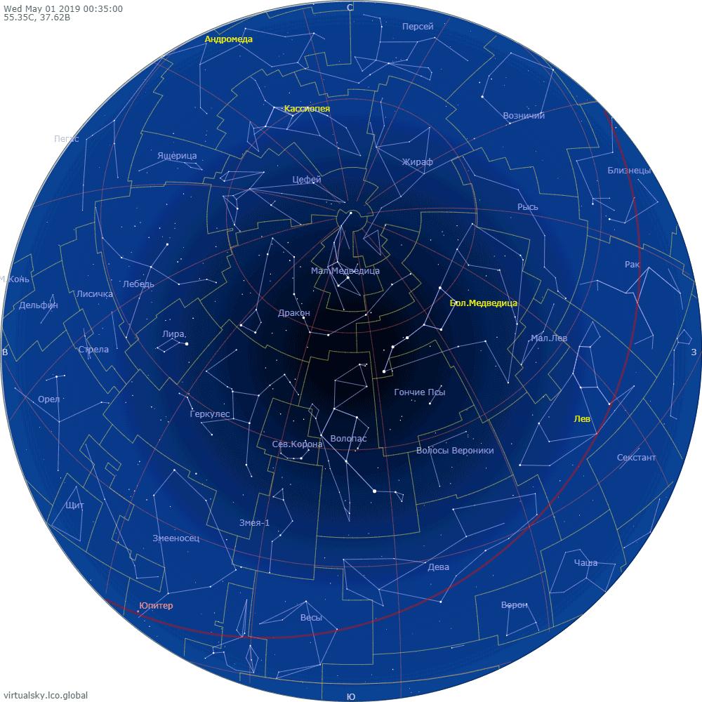 Звездное небо над Москвой, 1 мая 2019