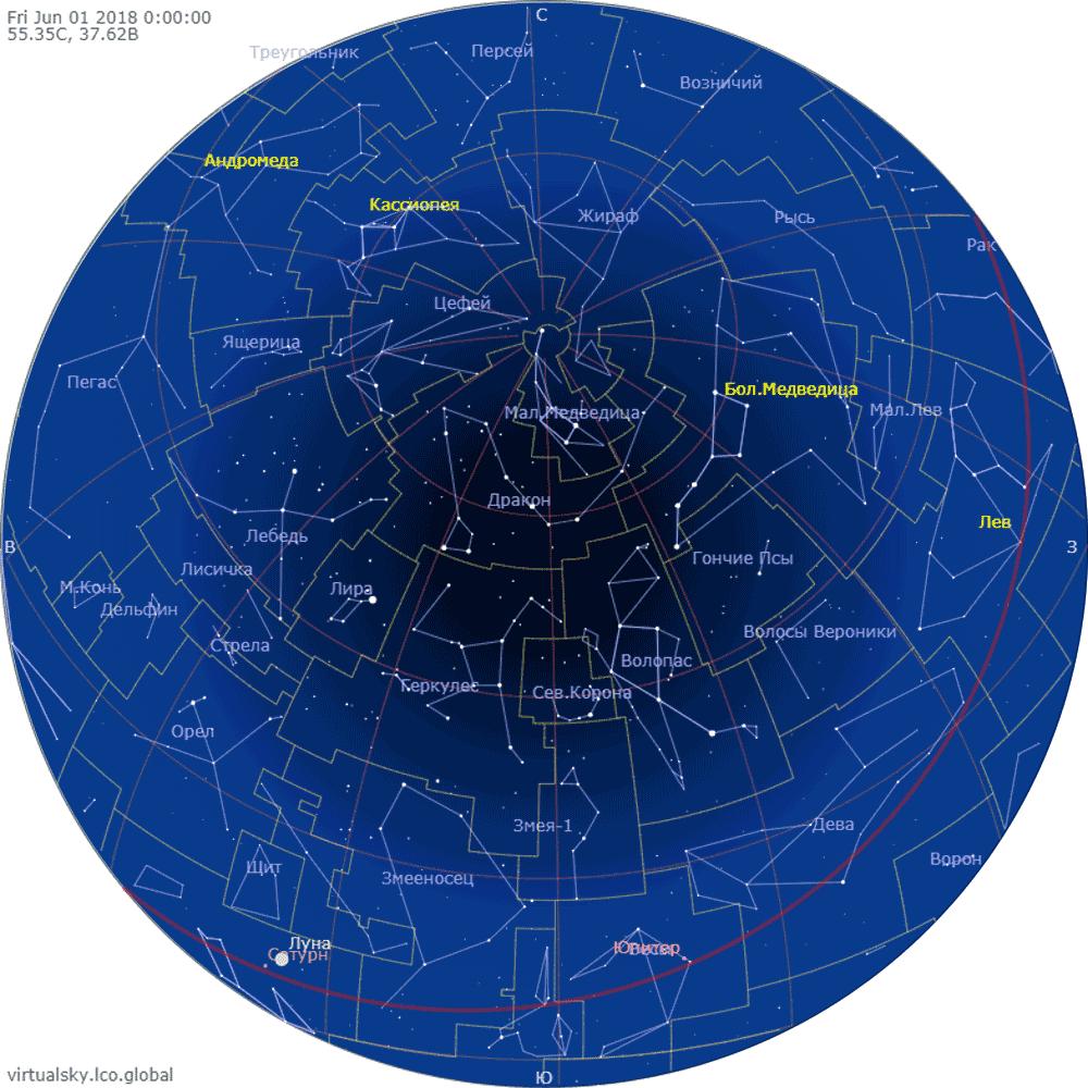 Звездное небо над Москвой, 1 июня 2018