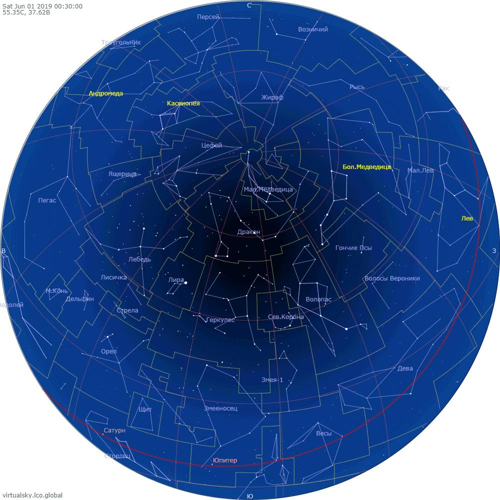 Звездное небо над Москвой, 1 июня 2019