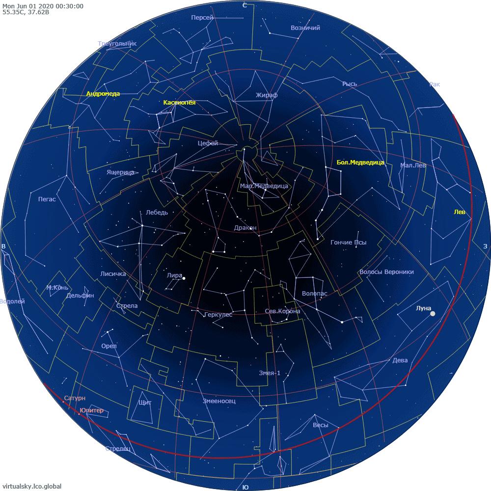 Звездное небо над Москвой, 1 июня 2020