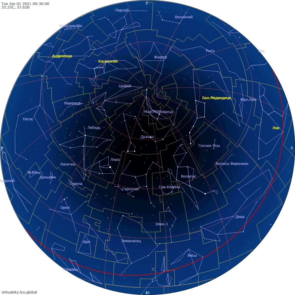 Звездное небо над Москвой, 1 июня 2021