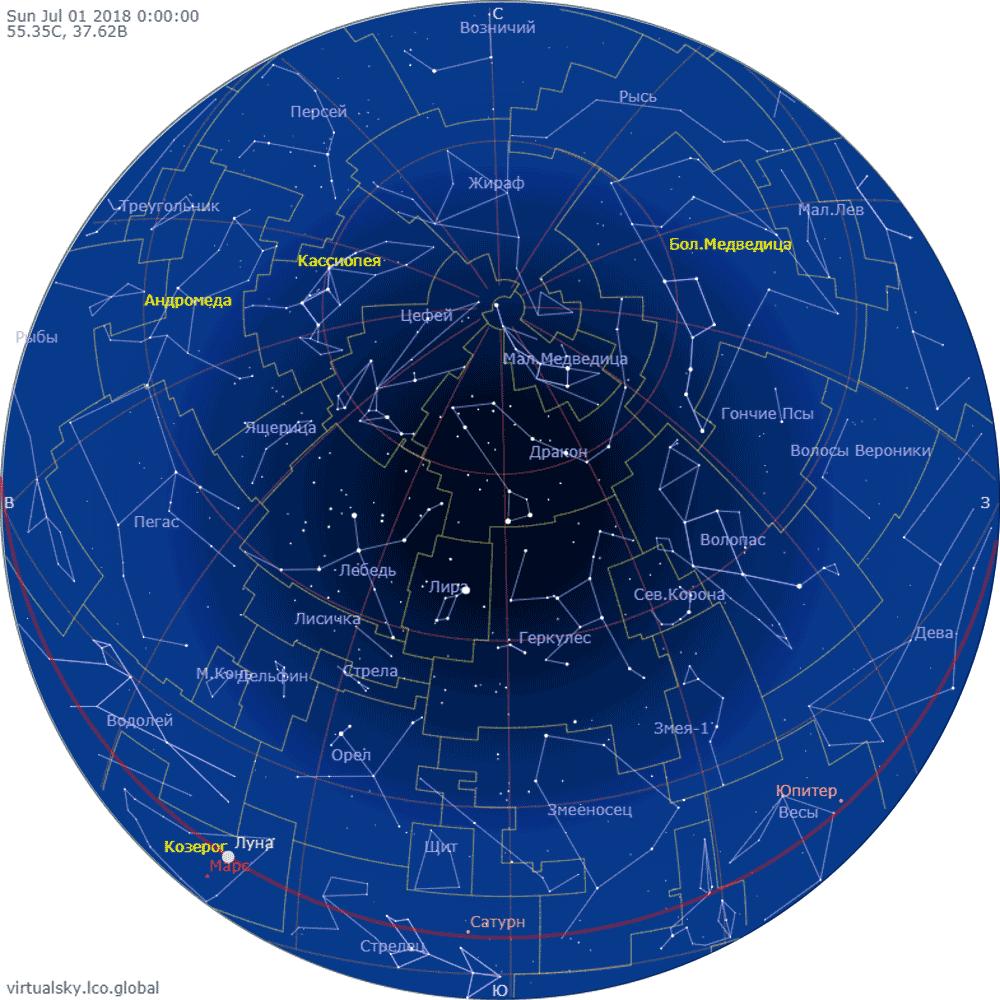Звездное небо над Москвой, 1 июля 2018