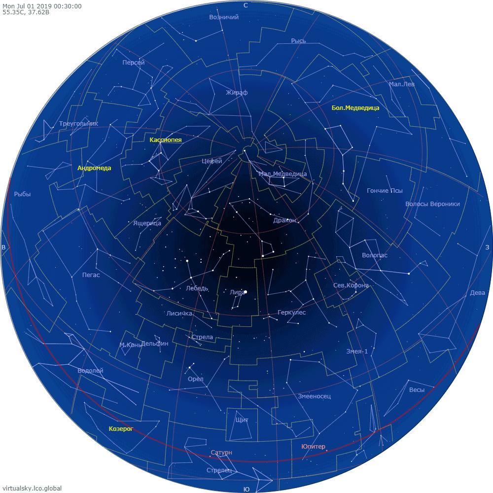 Звездное небо над Москвой, 1 июля 2019
