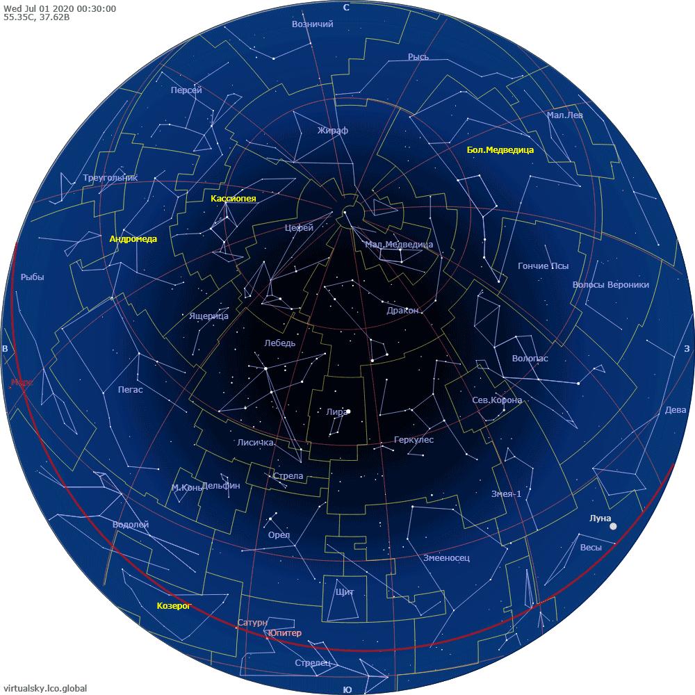 Звездное небо над Москвой, 1 июля 2020