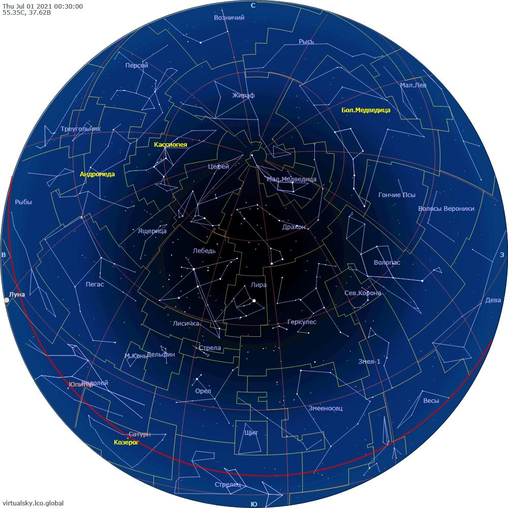 Звездное небо над Москвой, 1 июля 2021