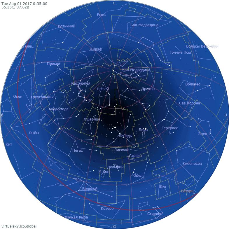 Звездное небо над Моской, 1 августа 2017