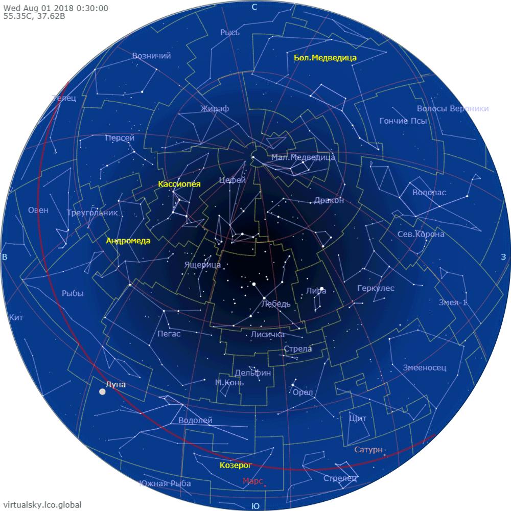 Звездное небо над Моской, 1 августа 2018
