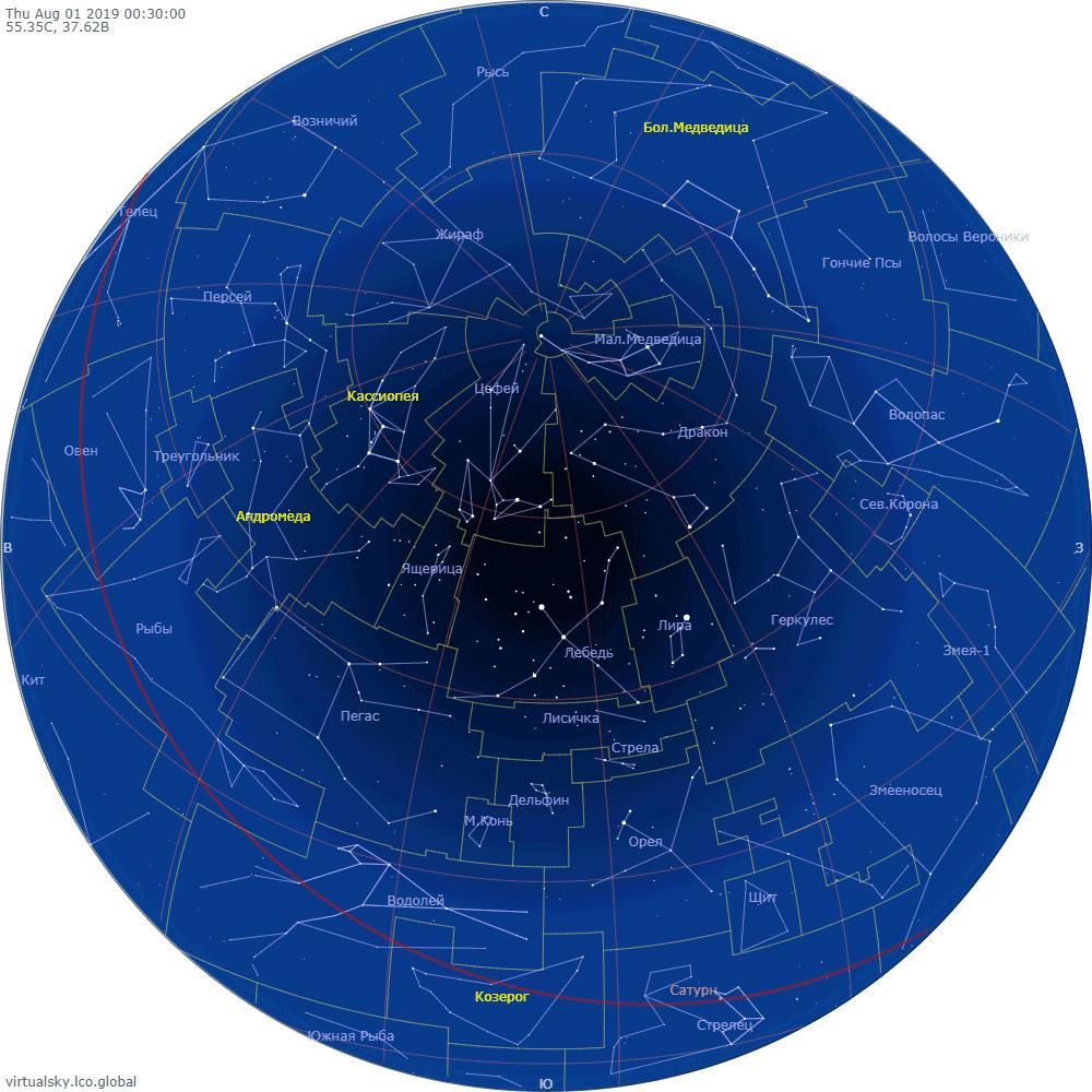 Звездное небо над Моской, 1 августа 2019
