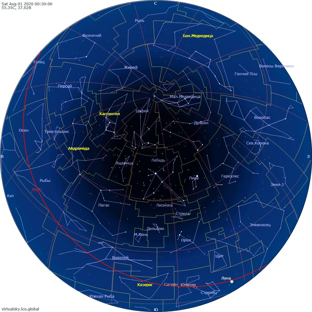 Звездное небо над Моской, 1 августа 2020