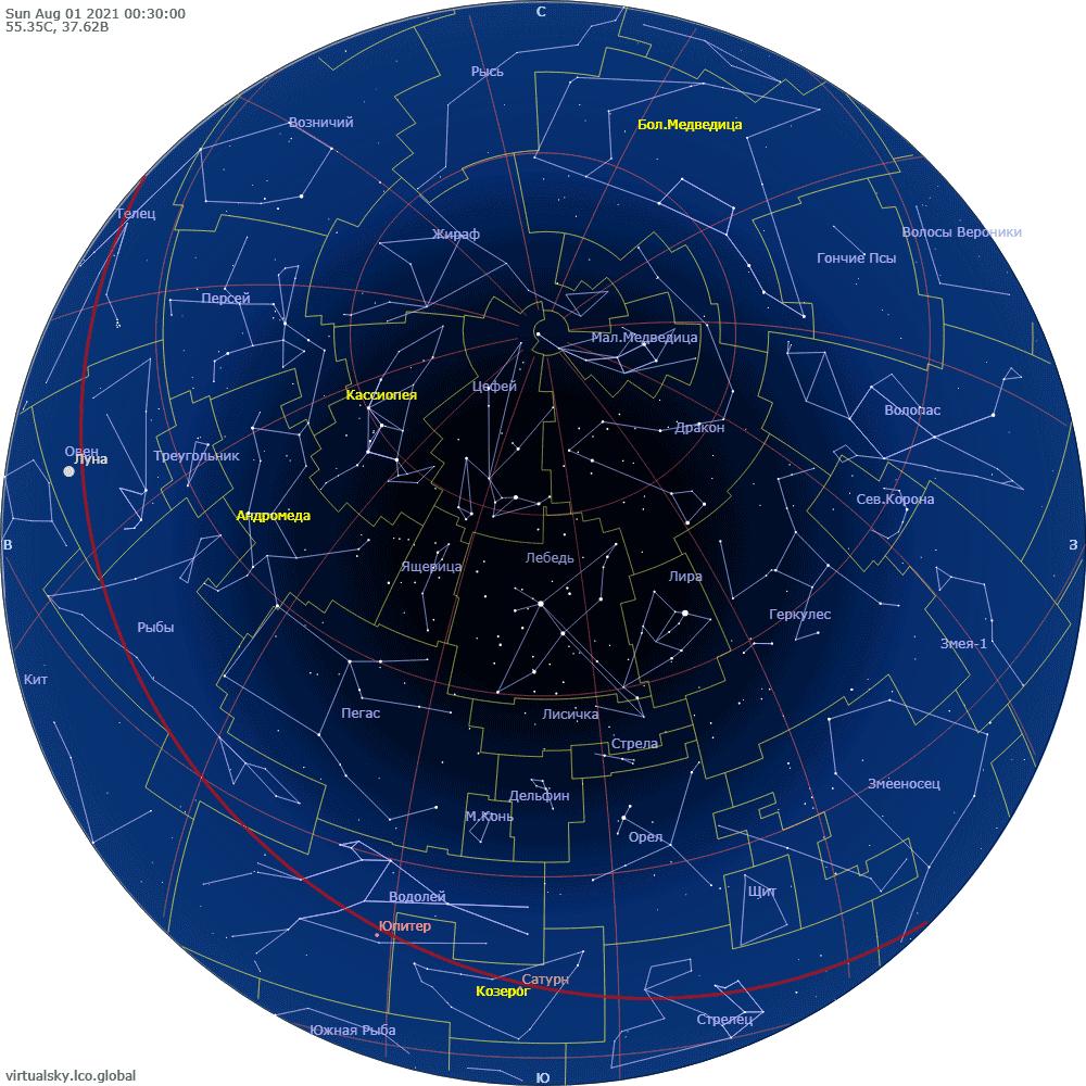 Звездное небо над Моской, 1 августа 2021