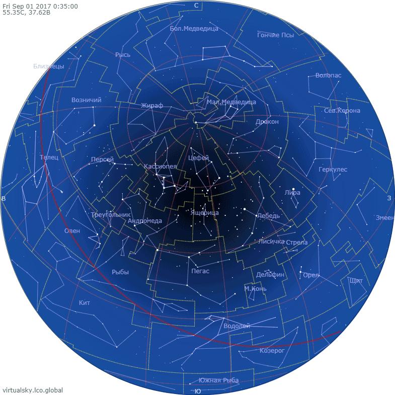 Звездное небо над Моской, 1 сентября 2017