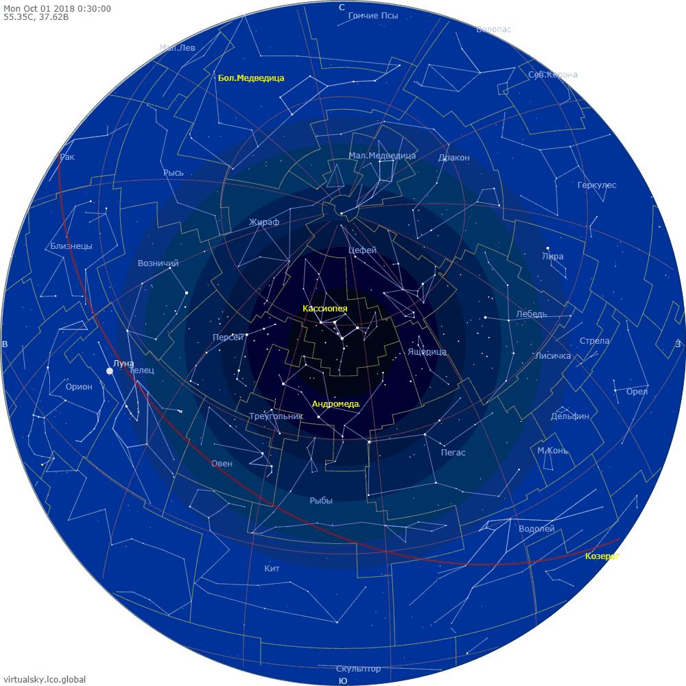 Звездное небо над Моской, 1 октября 2018