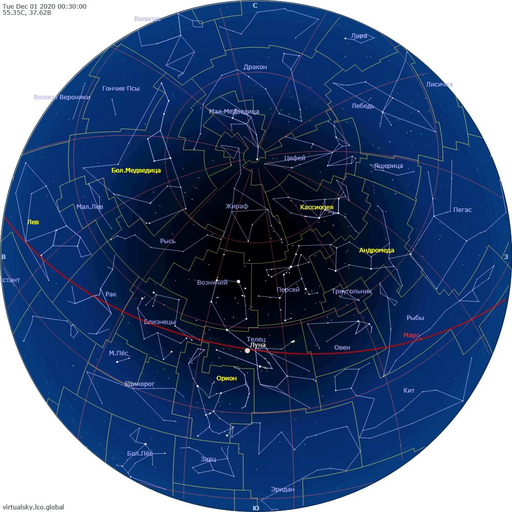 Звездное небо над Моской, 1 декабря 2020